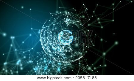 Two concentric plexus spheres with plexus structure around. Abstract technology, science and engineering background. Depth of field settings. 3D rendering.