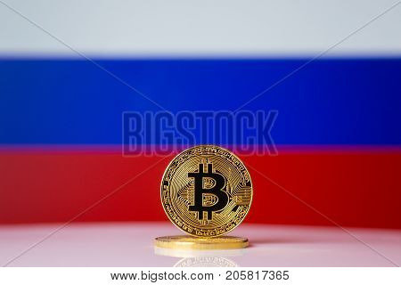 Bitcoin. Bitcoin on Russian Federation flag background