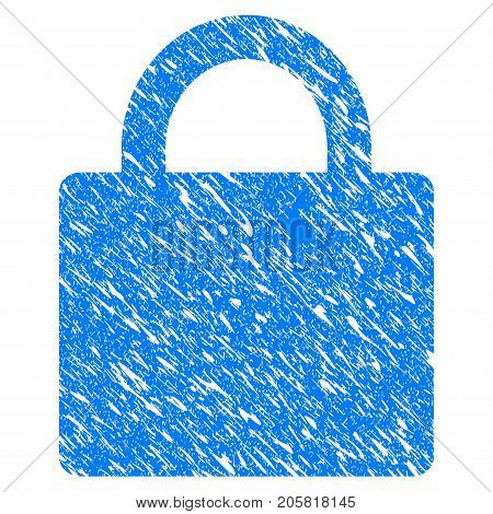 Grunge Lock icon with grunge design and unclean texture. Unclean vector blue Lock pictogram for rubber seal stamp imitations and watermarks. Draft emblem symbol.