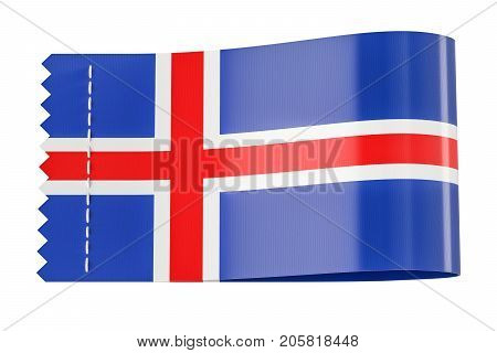 Clothing tag label with flag of Iceland. 3D rendering isolated on black background