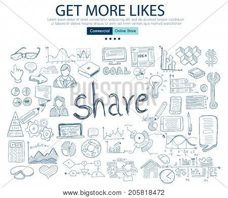 Get More Likes social media concept with Business Doodle design style: online studies, sharing solutions ,post timing