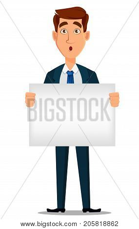 Business man in formal suit holding blank placard cartoon character. Young handsome surprised businessman in office style clothes. Vector illustration