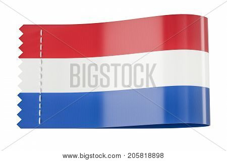 Clothing tag label with flag of Netherlands. 3D rendering isolated on black background