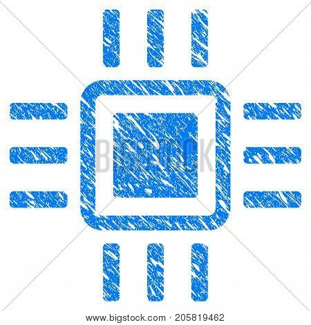 Grunge Processor icon with grunge design and unclean texture. Unclean vector blue Processor pictogram for rubber seal stamp imitations and watermarks. Draft sticker symbol.