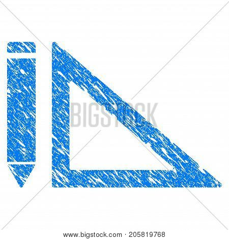 Grunge Project Design icon with grunge design and dust texture. Unclean vector blue Project Design pictogram for rubber seal stamp imitations and watermarks. Draft sign symbol.