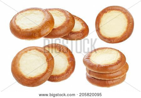 Bun with cottage cheese isolated on white background, traditional russian cheesecake