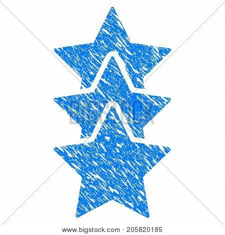 Grunge Rating Stars icon with grunge design and dust texture. Unclean vector blue Rating Stars pictogram for rubber seal stamp imitations and watermarks. Draft sign symbol.