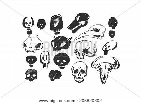 Hand drawn vector abstract artistic freehand textured ink Halloween design elements animals and human skulls collection set isolated on white background