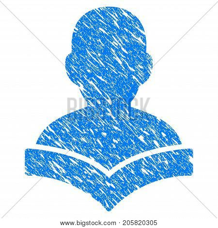 Grunge Reader Student icon with grunge design and dust texture. Unclean vector blue Reader Student pictogram for rubber seal stamp imitations and watermarks. Draft sign symbol.