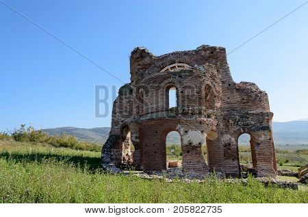 Panorama of archaeological remains of the Red Church near Perushtitsa, Bulgaria, 5-th century