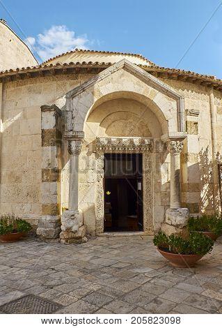 Principal facade of Tempio di San Giovanni al Sepolcro temple of Brindisi Apulia Italy.