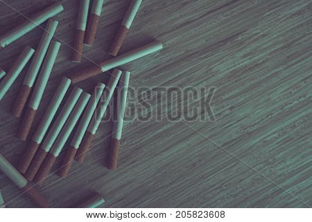 Tobacco Cigarettes On A Grey Wooden Table. Toned Photo. Stop Smoking. World No Tobacco Day. Cigarett