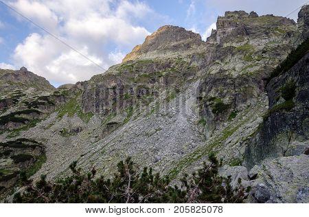 Steep and rugged mountain slopes at Rila national park, Bulgaria