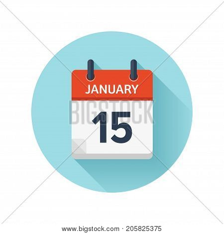 January 15. Vector flat daily calendar icon. Date and time, day, month 2018. Holiday. Season.
