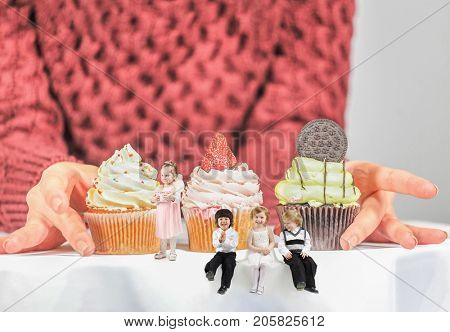 Four little children are near cakes on table with big female hands, collage with four people
