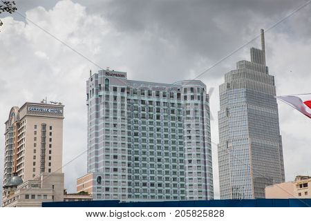 HO CHI MINH CITY (SAIGON), VIETNAM - JULY 2017 : skyscrapers business center in Ho Chi Minh City on Vietnam Saigon on background blue sky