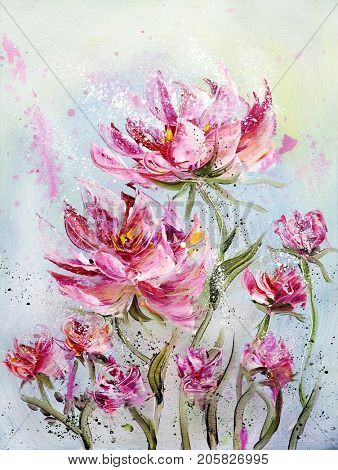 Hand painted modern style Pink peonies flowers. Spring flower seasonal nature background. Oil knife painting floral texture