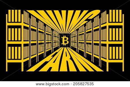 Mining Farm. Extraction Of Cryptocurrency. Stand Gpu. Technology For Obtaining Bitcoin And Etherium.