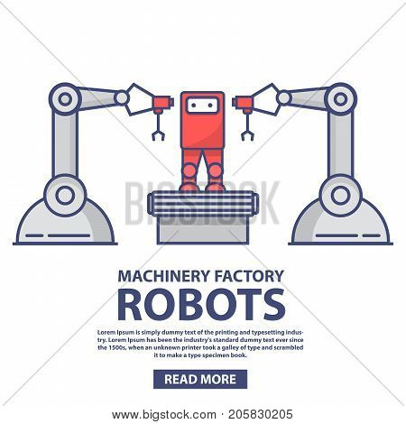 The conveyor robotic arms automated line factory assembly of robots. Plant on assembly of toys. In flat style a vector. Smart industry.