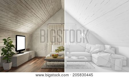Attic living room with CAD draft for room planner view (3D Rendering)