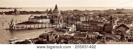 Venice Church Santa Maria della Salute and canal aerial view panorama in Italy.
