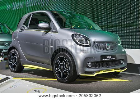 Frankfurt-September 20: Smart Fortwo Brabus Edition Asphaltgold at the Frankfurt International Motor Show on September 20 2017 in Frankfurt