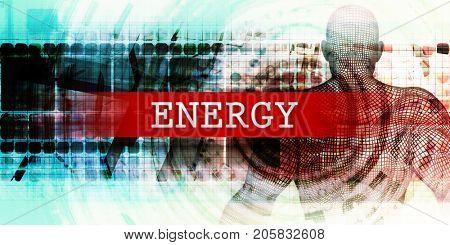 Energy Sector with Industrial Tech Concept Art 3D Illustration Render poster