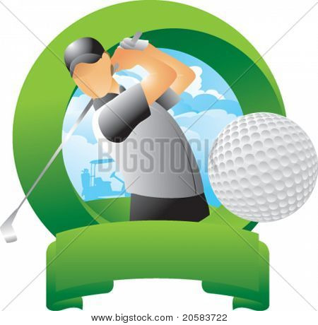 Golfer hitting golf ball in round green display
