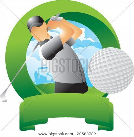 Golfer hitting golf ball in round green display