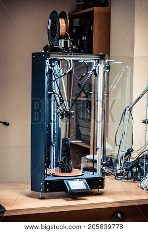 The technology of creating a model on a 3d printer close-up. Progressive modern additive technologies 4.0 industrial revolution
