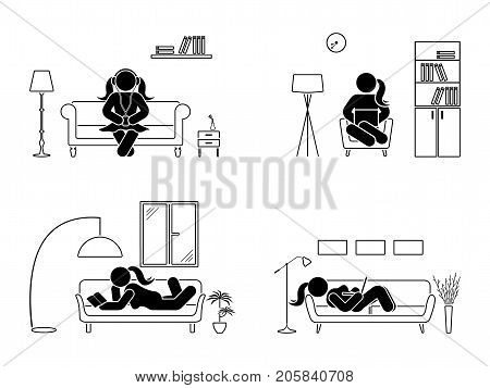 Stick figure resting at home position set. Sitting lying reading book listening to music using laptop vector icon relaxing posture on sofa and armchair. Furniture silhouette pictogram