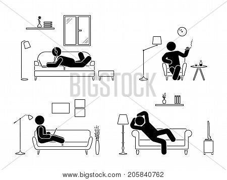 Stick figure resting at home position set. Sitting lying smoking cigarette listening to music using laptop drinking whiskey vector icon relaxing posture on sofa and armchair. Furniture silhouette pictogram