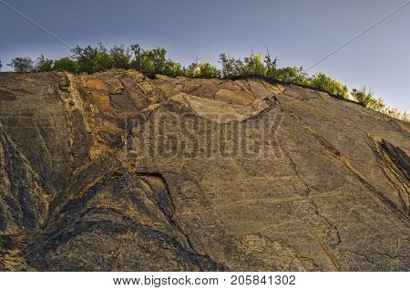 Rocky Mountain With Cracks And Fissures In Sunny Weather At Lahic Big Caucasus Mountains Of Azerbaij