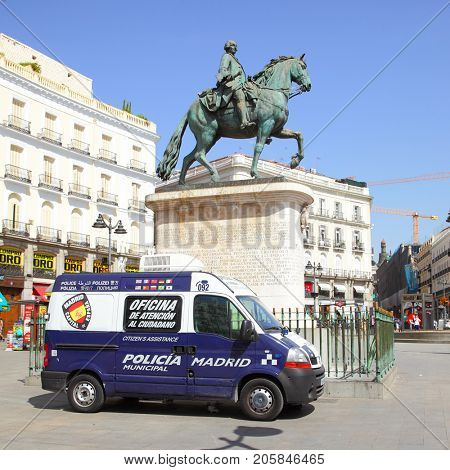 Madrid, Spain - September 6, 2016: Police car in Plaza del Sol in Madrid