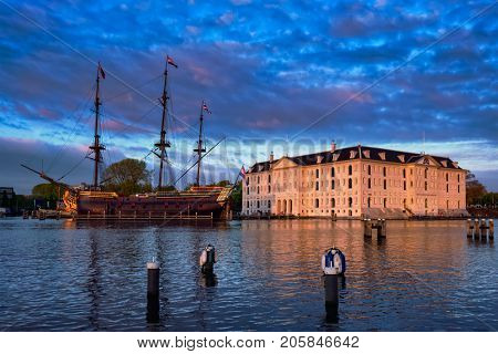 AMSTERDAM, NETHERLANDS - MAY 9, 2017: VOC-schip East Indiaman the Amsterdam and The National Maritime Museum (Het Scheepvaartmuseum)