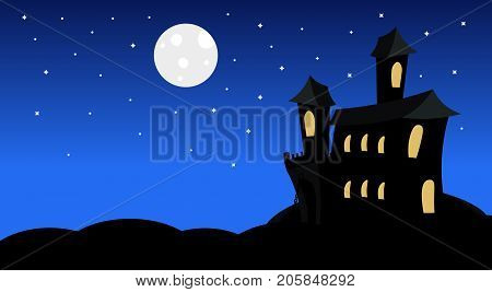 Silhouette Castle With Ghosts In Moonlight Scary Shadows Happy Halloween Banner Trick Or Treat Concept Holiday Flat Vector Illustration