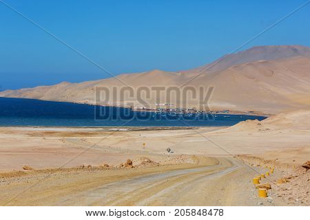 Deserted coastline landscapes in Pacific ocean, Peru, South America