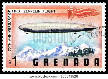 STAVROPOL RUSSIA - September 26 2017: a stamp printed in Grenada shows First Zeppelin Flight series cirka 1975