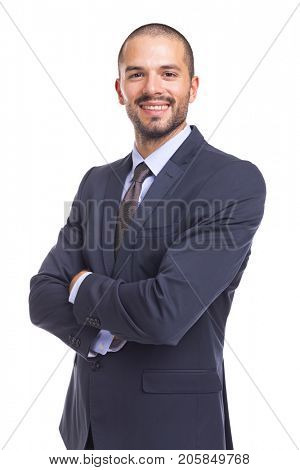Portrait of handsome smiling business man with arms crossed, isolated on a white background
