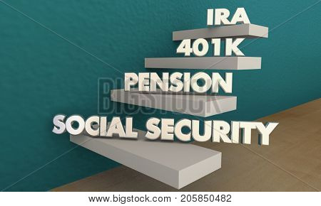 Retirement Savings Social Security Pension 401K IRA 3d Illustration poster