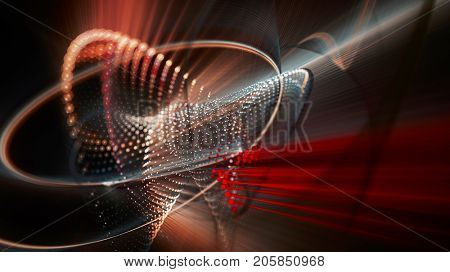 Abstract red and black background. Fractal graphics series. Three-dimensional composition of dots, waves and rays of light. Wide.