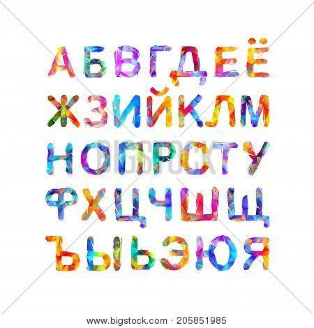 Cyrillic alphabet. Russian abc. Vector triangular letters