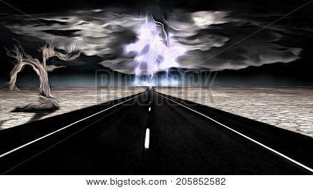 Surreal painting. Highway in arid land. Dry tree on the side of the road. Storm and lightning at the horizon.  3D rendering
