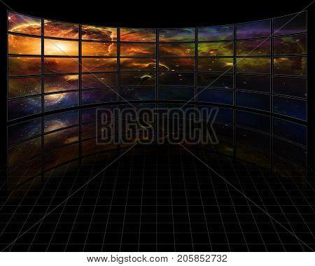 Galaxies and stars on screens in dark space  3D rendering