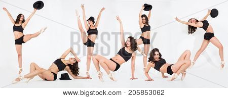 Seven dancers in pointe shoes pose on white, collage with one model