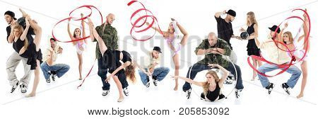 14 breakdancers and gymnast girls with ribbon isolated on white, collage with two models