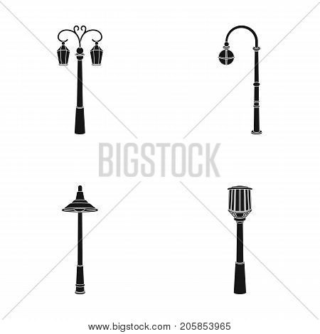 Lamppost in retro style , modern lantern, torch and other types of streetlights. Lamppost set collection icons in black style vector symbol stock illustration .