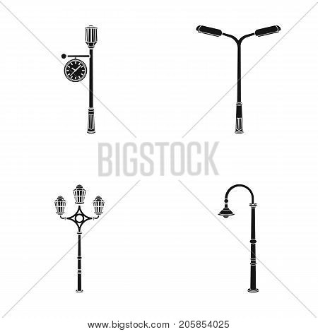 Lamppost in retro style, modern lantern, torch and other types of streetlights. Lamppost set collection icons in black style vector symbol stock illustration .
