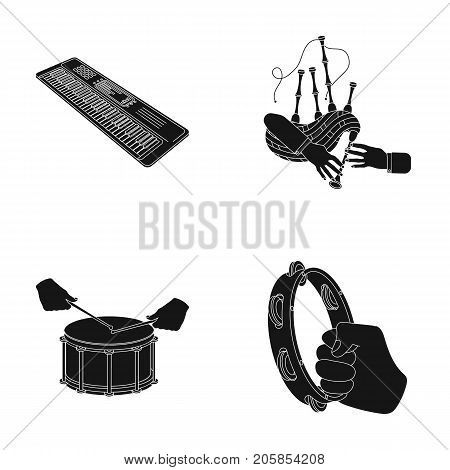 Synthesizer melodies, bagpipes Scotch and other  icon in black style. drum, drum roll, tambourine in hand icons in set collection.