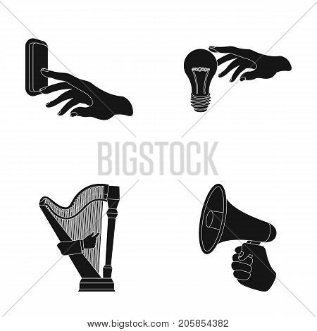 Electric switch button, incandescent lamp and other  icon in black style. harp playing, Megaphone in hand icons in set collection.